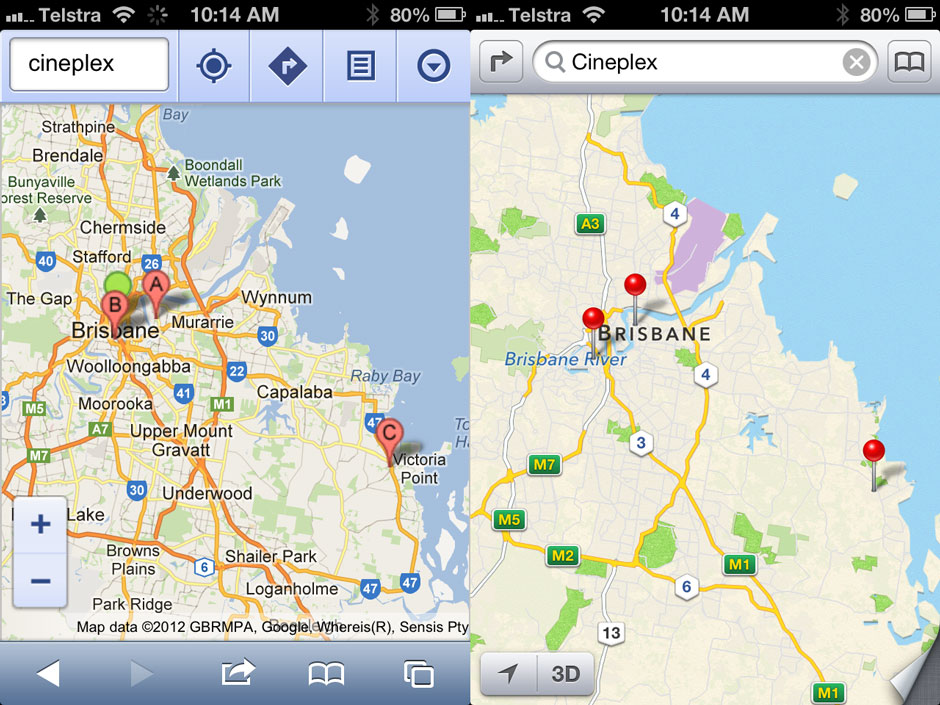 Apple iOS 6 maps vs google maps