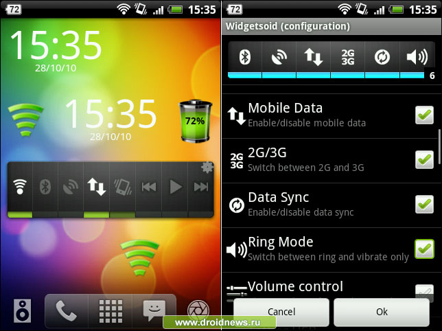 "Widgetsoid  an app offering many home screen ""widgets"" for the Android operating system"