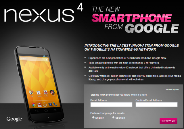 Buy the Nexus 4 on-contract