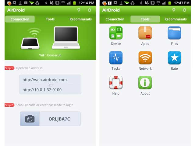 AirDroid connection
