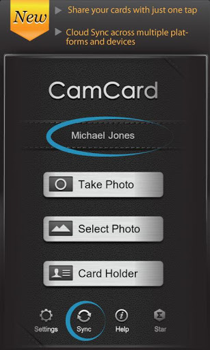 camcard homescreen