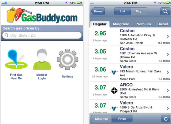 GasBuddy interface