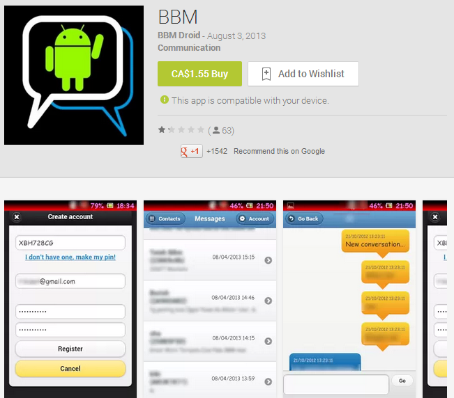 Watch Out for BBM Fakes On the Google Play Store