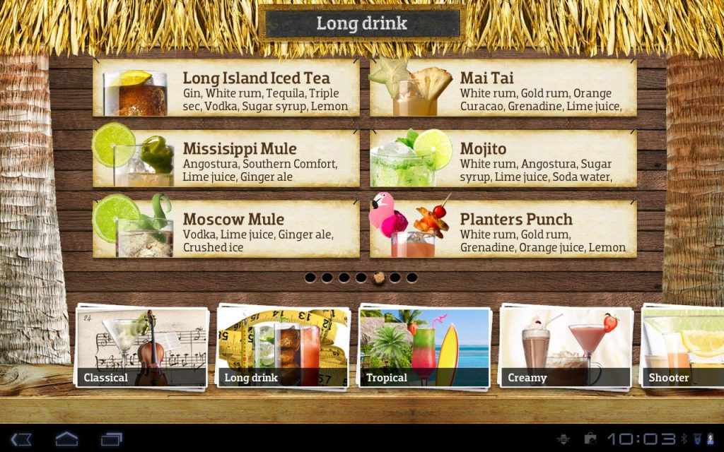 cocktail flow menu