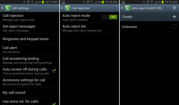 How to block incoming calls samsung galaxy s4