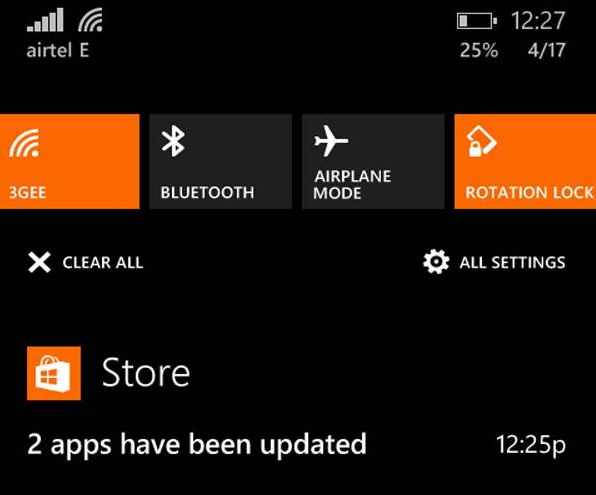notification center windows phone 8-1