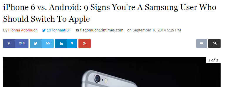 "Writer Baits Android Users With Article: ""9 Signs You're a Samsung User Who Should Switch to Apple"""