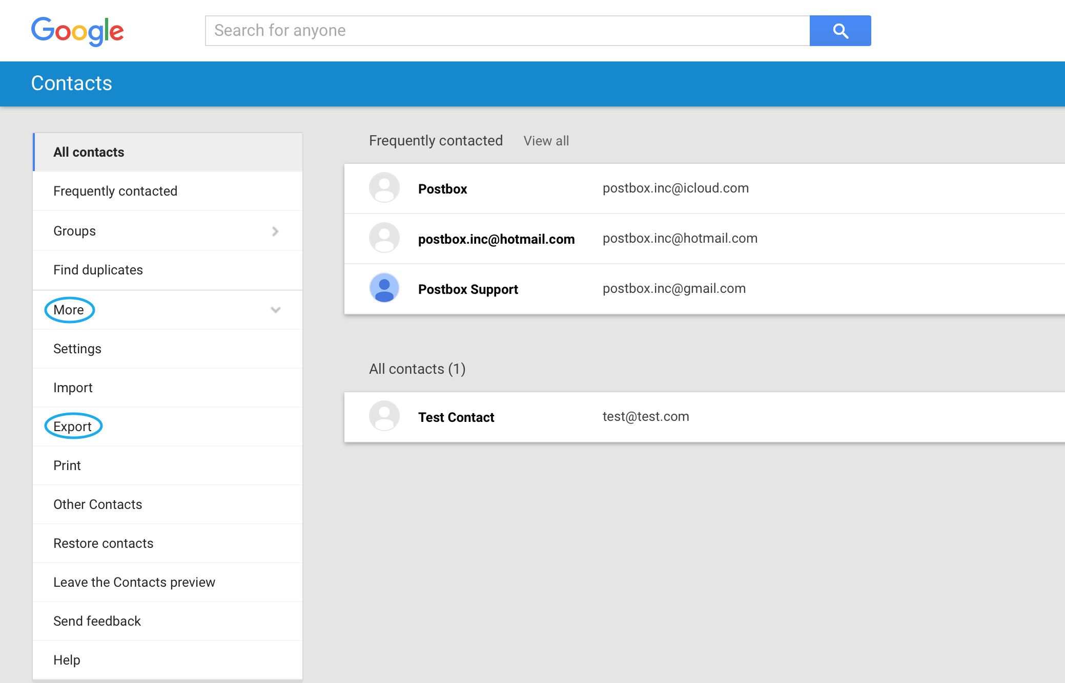 old version google contacts